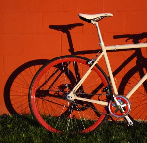 Red single-speed with shadow