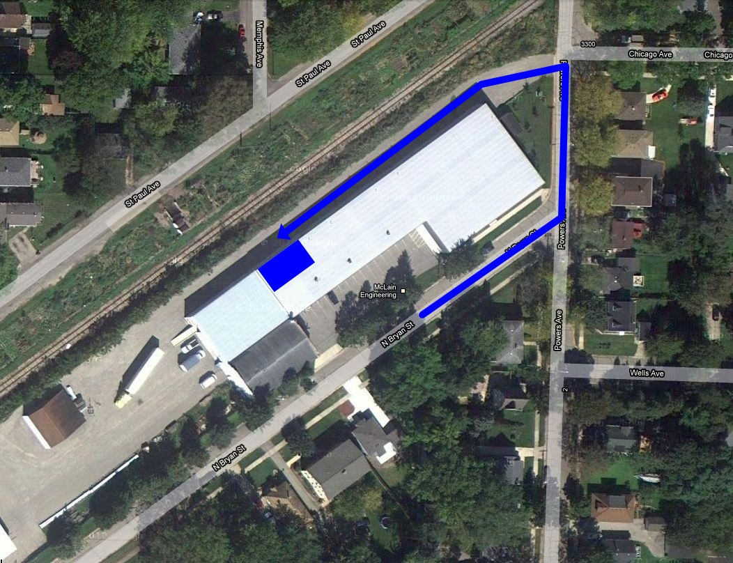 Map showing parking area on N. Bryan and path around to back of building